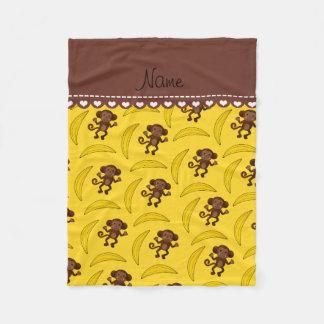 名前入りな一流の黄色い猿のバナナ フリースブランケット