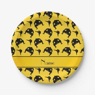 名前入りな一流の黄色い相撲レスリング ペーパープレート
