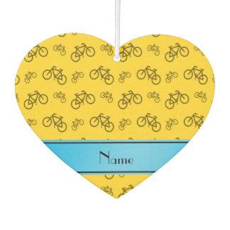 名前入りな一流の黄色い自転車の青い縞 カーエアーフレッシュナー