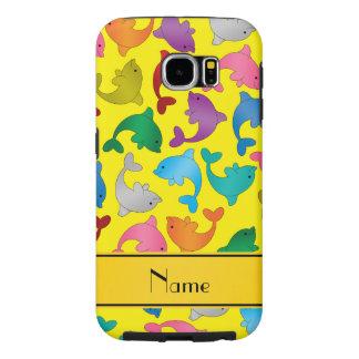 名前入りな一流の黄色い虹のイルカ SAMSUNG GALAXY S6 ケース