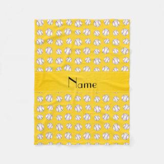 名前入りな一流の黄色い野球パターン フリースブランケット