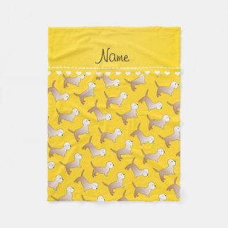 名前入りな一流の黄色いdandieのdinmontテリア フリースブランケット