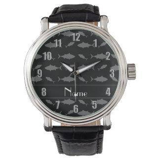名前入りな一流の黒いほんまぐろパターン 腕時計