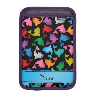 名前入りな一流の黒い虹のイルカ iPad MINIスリーブ