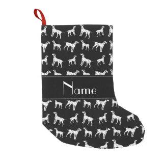 名前入りな一流の黒いdalmatian犬 スモールクリスマスストッキング