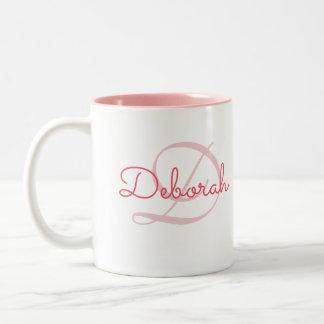 名前入りな一流の~のモノグラムのピンク ツートーンマグカップ