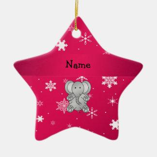 名前入りな一流象のピンクの雪片 セラミックオーナメント