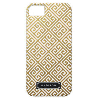 名前入りな上品な金ゴールドのギリシャ人の鍵 iPhone SE/5/5s ケース