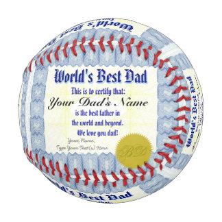 名前入りな世界で最も最高のなパパの証明書を作って下さい 野球ボール