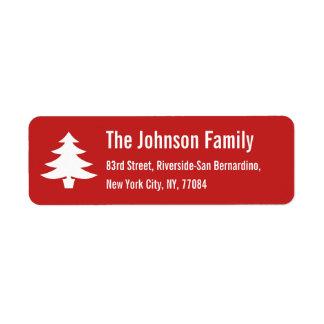 名前入りな休日のクリスマスツリーの差出人住所 ラベル