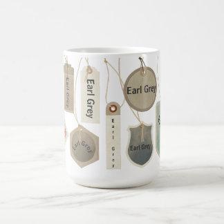 名前入りな伯爵の灰色の茶か文字のモノグラム  コーヒーマグカップ