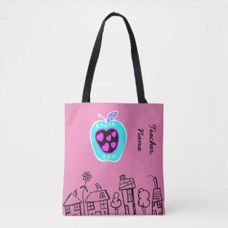 名前入りな先生のギフトのりんごのピンクありがとう トートバッグ