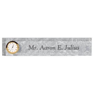 名前入りな先生の大理石のネームプレートの時計のギフト デスクネームプレート