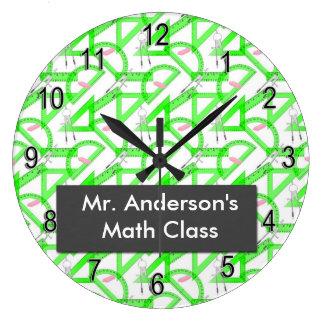 名前入りな先生の数学は柱時計のあたりで用具を使います ラージ壁時計