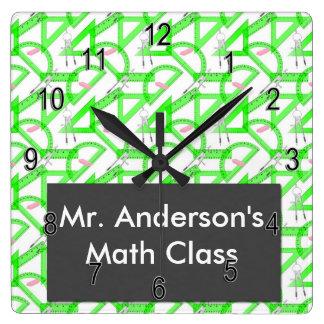 名前入りな先生の数学は正方形の柱時計に用具を使います スクエア壁時計