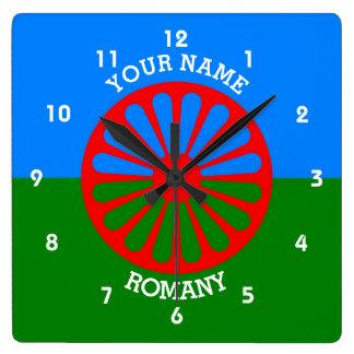 名前入りな公式のRomanyのジプシーの旅行者の旗 スクエア壁時計