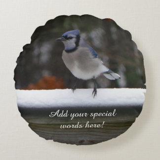名前入りな円形のアオカケスの鳥の枕 ラウンドクッション