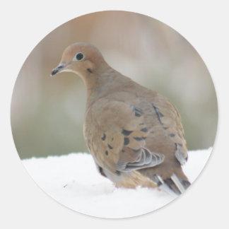 名前入りな円形のステッカーの嘆く鳩の写真 ラウンドシール