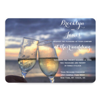 名前入りな円形の日没のビーチ結婚式の招待 カード