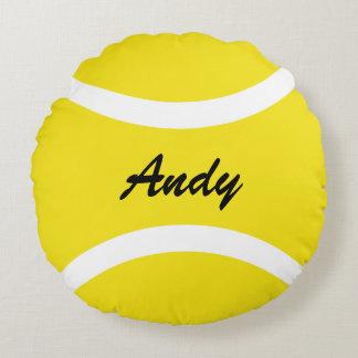 名前入りな円形の黄色いテニス・ボールの装飾用クッション ラウンドクッション