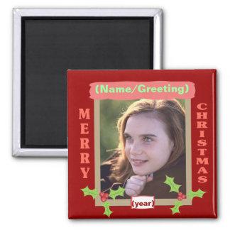 名前入りな写真のクリスマスの磁石 マグネット