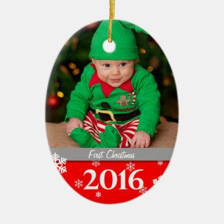 名前入りな写真のクリスマスツリーのオーナメント2016年 セラミックオーナメント