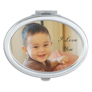 名前入りな写真のコンパクトの鏡