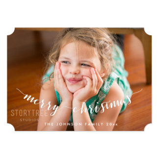 名前入りな写真のメリークリスマスカードチケット カード