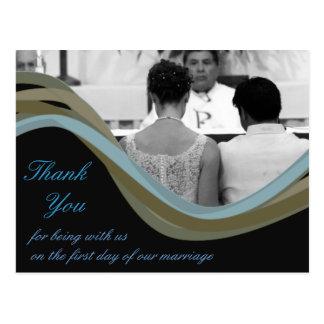 名前入りな写真の結婚式のサンキューカード ポストカード