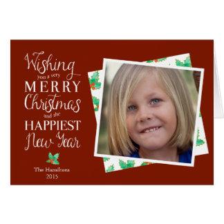 名前入りな写真クリスマスのメッセージカード カード