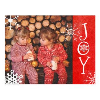 名前入りな写真家族のクリスマスの喜びのレッド・カード ポストカード