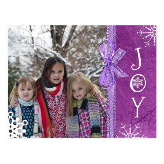 名前入りな写真家族のクリスマスの喜びの紫色 ポストカード