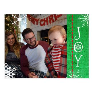 名前入りな写真家族のクリスマスの喜びの緑 ポストカード