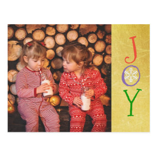 名前入りな写真家族のクリスマスの喜びの金ゴールドカード ポストカード