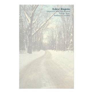 名前入りな冬の道の筆記用紙 便箋