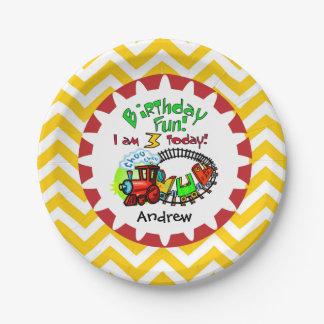 名前入りな列車の第3誕生日の紙皿 ペーパープレート