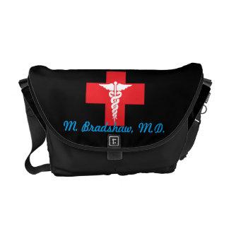 名前入りな医学の中型のメッセンジャーバッグ クーリエバッグ