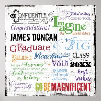 名前入りな卒業の単語の芸術 ポスター
