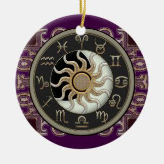名前入りな占星術日曜日および月 陶器製丸型オーナメント