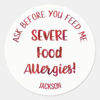 名前入りな厳しい食物アレルギーの子供は食べ物を与えません ラウンドシール