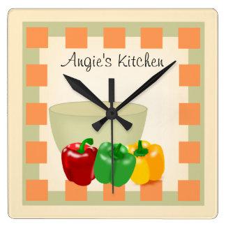 名前入りな台所レシピの時計-野菜 スクエア壁時計