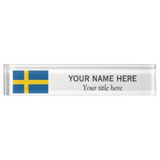 名前入りな名前およびカスタムのタイトルのスウェーデン人の旗