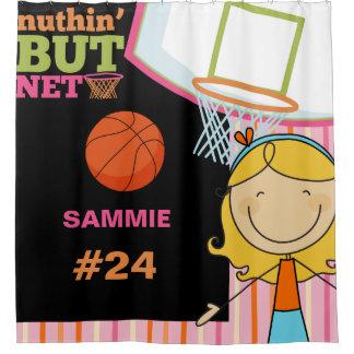 名前入りな名前および数女の子のバスケットボール シャワーカーテン