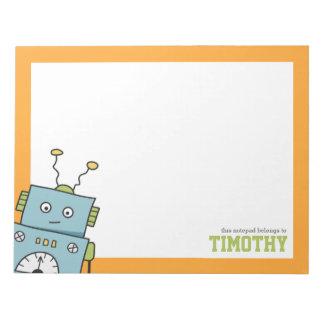 名前入りな名前のかわいく青いロボット ノートパッド