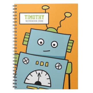 名前入りな名前のかわいく青いロボット ノートブック
