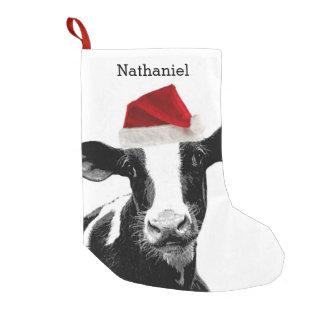 名前入りな名前のサンタかわいい牛 スモールクリスマスストッキング