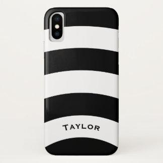 名前入りな名前の白黒ストライプ iPhone X ケース