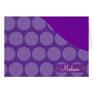 名前入りな名前をカスタムするの紫色の水玉模様の波 カード