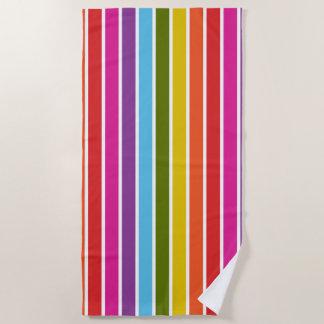 名前入りな多彩の虹の縦ストライプ ビーチタオル