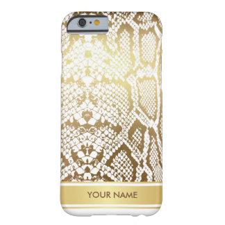 名前入りな大蛇のスネークスキンのホワイトゴールドの魅力 BARELY THERE iPhone 6 ケース